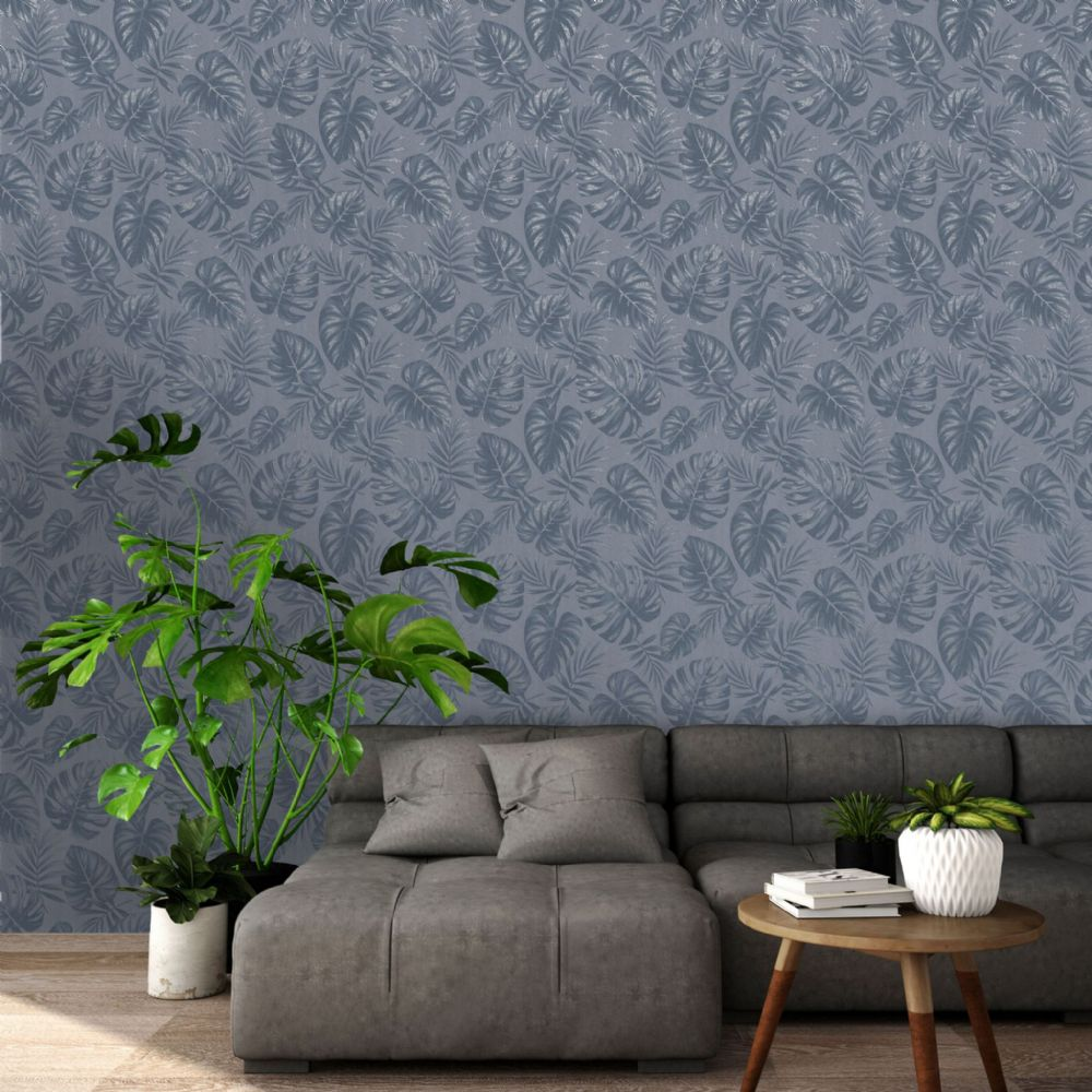 Holden Decor Riviera Leaf Navy 75912 Wallpaper
